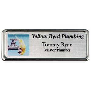 Sublimated Framed Name Badge-Nickel Silver Insert (1
