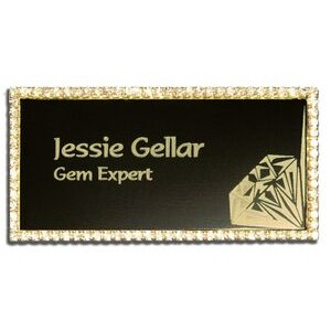 Rhinestone Frame Name Badge-Brass Insert (1 1/2