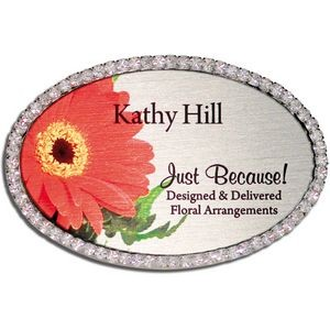 Rhinestone Oval Frame Name Badge-Nickel Silver insert (1-7/8