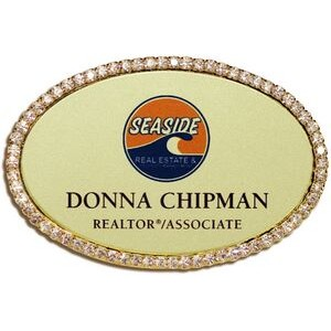 Rhinestone Oval Frame Name Badge-Brass insert (1-7/8