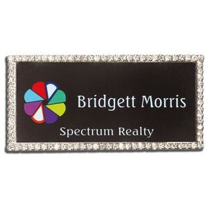 Rhinestone Frame Name Badge-Nickel Silver Insert (1 1/2