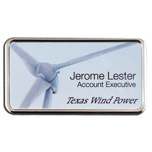 Sublimated Framed Name Badge-Aluminum insert (1-5/8